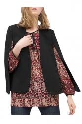 Black Womens Opened Sleeve Pretty Fashion Cape Blazer