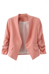 Womens Elegant Short Sleeve Pleated Blazer Pink