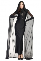 Womens Ghost Chiffon Cape Witch Adult  Costume Red
