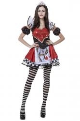 Womens Alice Evil Queen of Heart Halloween Costume Red
