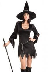 Womens Long Sleeve Sexy Halloween Witch Costume Black