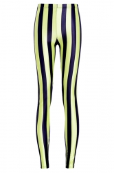 Ladies Pretty Black Striped Leggings Yellow