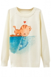 Ladies Crew Neck Cat Kiss Fish Printed Pullover Sweater White