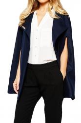 Womens Sexy Plain Cape Opened Sleeve Blazer Navy Blue