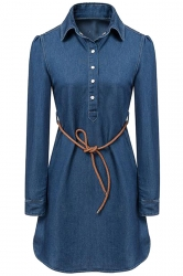 Womens Tunic Button Long Sleeve Denim Shirt Dress Blue