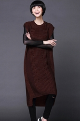 Womens Plain Sleeveless Pullover Knitted Sweater Dress Ruby