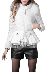 Womens Slimming Warm Tunic Peplum Down Jacket White