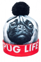 Womens Pug Life Printed Pom Beanie White