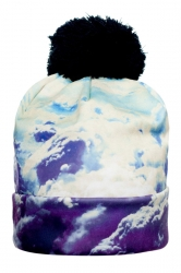 Womens Clouds Printed Pom Beanie Blue