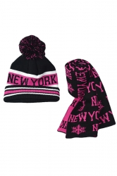Womens New York Snowflake Knitting Scarf Pom Beanie Set Rose Red