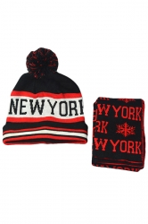 Womens New York Snowflake Knitting Scarf Pom Beanie Set Red
