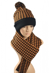 Womens Fair Isle Swallow Gird Knitting Scarf Pom Beanie Set Orange