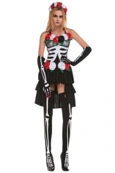 Womens Floral Sexy Skull Bride Halloween Costume Black
