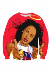 Womens Crewneck Aaliyah Babygirl 3D Printed Sweatshirt Red