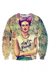 Womens 3D Frida Kahlo Daft Punk T Shirt Sweatshirt Green