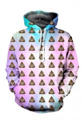 Womens Poop Emoji Pastel Galaxy Printed Pullover Hoodie Pink