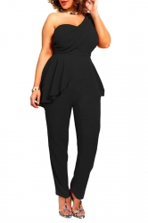 Womens Sexy One Shoulder Peplum Chiffon Jumpsuit Black