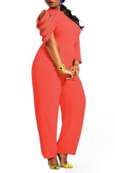 Womens Unique Chiffon Irregular Sleeve Jumpsuit Orange