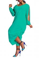 Womens Loose V Neck Split Sleeve Jumpsuit Turquoise