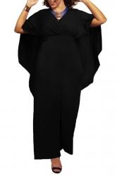 Womens Chiffon V Neck High Waist Cape Jumpsuit Black