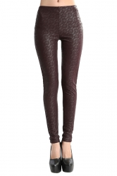 Womens Lace Lined PU Leather Leggings Coffee