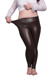 Womens Elastic  PU Leather Leggings Coffee