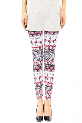 Womens Reindeer and Snowflake Printed Christmas Leggings Pink