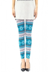 Womens Frozen Snowflake Printed Christmas Leggings Blue