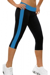 Womens Color Block Side Pocket Capri Sports Leggings Blue