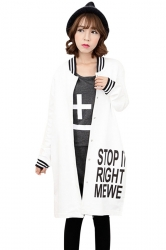 Womens Loose Cardigan Letters Printed Trench Coat White