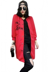 Womens Loose Casual Letter Printed Pockets Jacket Red