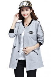 Womens Fashion Color Block Pockets Trench Coat Gray