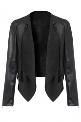 Womens Crewneck Tassel Motorcycle PU Leather Jacket Black