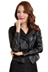 Womens Slim PU Leather Motorcycle Jacket Black