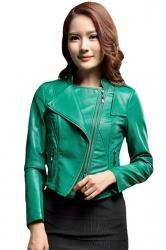 Womens Slim PU Leather Motorcycle Jacket Green