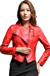 Womens Slim PU Leather Motorcycle Jacket Red