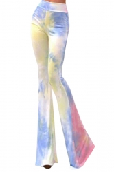 Womens Exotic Printed Flared Palazzo Leisure Pants Blue