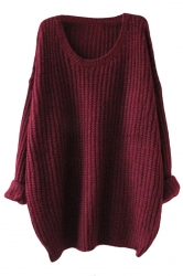 Womens Loose Crew Neck Long Sleeve Pullover Sweater Ruby