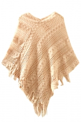 Womens Fringe Hollow Out Irregular Pullover Poncho Sweater Beige White