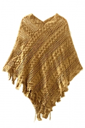 Womens Fringe Hollow Out Irregular Pullover Poncho Sweater Khaki