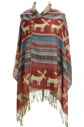 Womens Fringe Reindeer Pattern Christmas Shawl Wrap Scarf Red