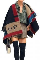 Womens Retro Color Block Plaid Shawl Wrap Poncho Blue