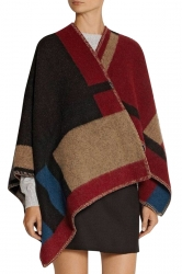 Womens Retro Color Block Plaid Shawl Wrap Poncho Ruby