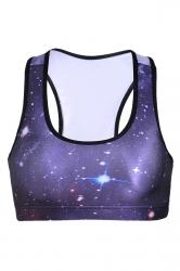 Womens Starry Sky Printed Sports Bra Purple