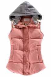 Ladies Single-breasted Chic Slimming Hoodie Vest Pink