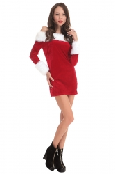 Womens Sexy Long Sleeve Off the Shoulder Santa Christmas Costume Red