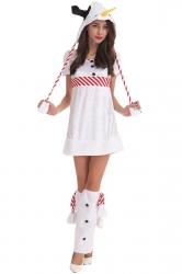 Womens Cute Short Sleeve Frozen Snowman Christmas Costume White