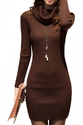 Womens Draped Neck Long Sleeve Crochet Sweater Dress Coffee