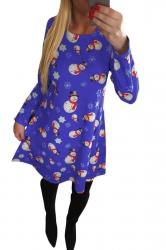 Womens Crewneck Snowman Printed Ugly Christmas Midi Dress Purple