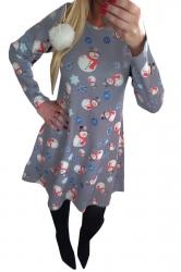 Womens Crewneck Snowman Printed Ugly Christmas Midi Dress Gray